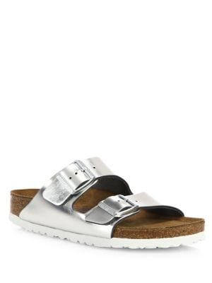 Arizona Metallic Leather Buckle Sandals by Birkenstock