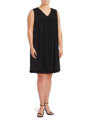 V-Neck Split Panel Overlay Dress by Calvin Klein Plus