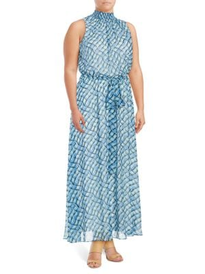 Belted Patterned Maxi Dress by Calvin Klein Plus