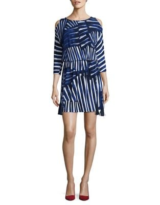 Printed Cold-Shoulder Dress by Vince Camuto
