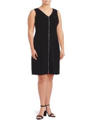 Plus Zip Front Sheath Dress by Calvin Klein