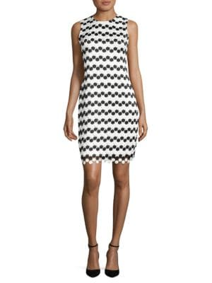 Dotted Embroidered Sheath Dress by Calvin Klein