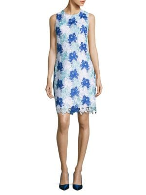 Floral Lace Patterned Sheath Dress by Calvin Klein