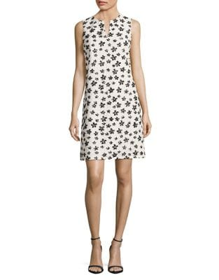 Splitneck Floral Lace A-Line Dress by Karl Lagerfeld Paris
