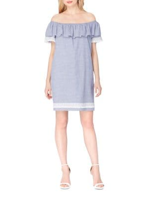 Striped Off-the-Shoulder Dress by Tahari Arthur S. Levine