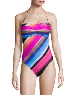 Striped Halter One-Piece Swimsuit by La Blanca Swim
