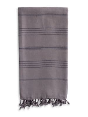 Pestemal Gray Turkish Cotton Striped and Fringed Beach Towel
