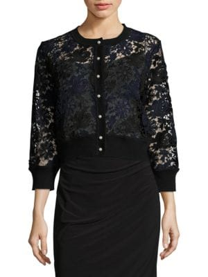 Lace Button-Front Cardigan – Vogue 125 Rose Collection by Karl Lagerfeld Paris