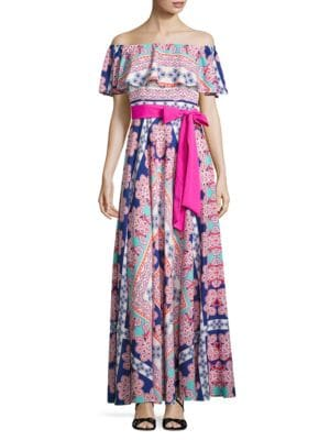 Ruffled Panel Accented Maxi Dress by Eliza J