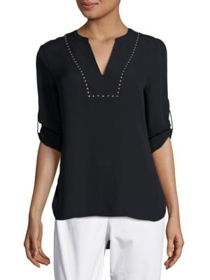 Studded Split-Neck Top by Ivanka Trump