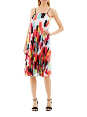 Pleated Geometric Shift Dress by Nicole Miller New York