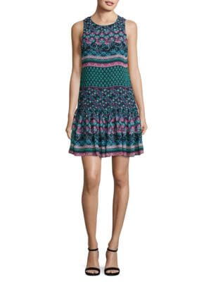 Patterned Dropped Waist Dress by Taylor
