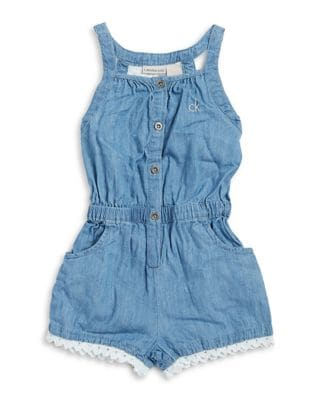Girl's Lace-Trimmed Denim...