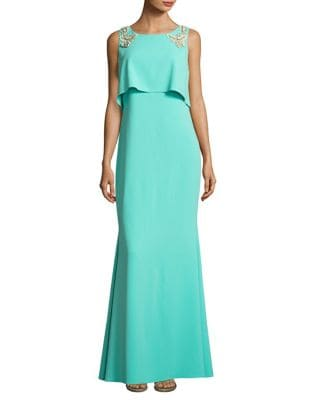 Floral Applique Sleeveless Dress by Badgley Mischka Platinum