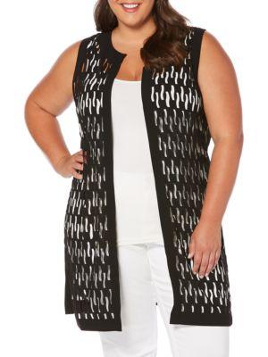 Open-Front Laser-Cut Vest by Rafaella Plus