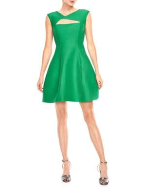 Photo of Halston Heritage Silk and Cotton Cutout Fit and Flare Dress