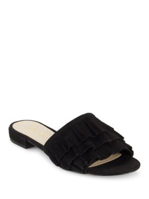 Ivarene Ruffled Suede Slides by Nine West