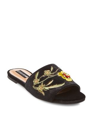 Fleur Embroidered Velvet Sandals 500087086366