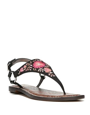 Embroidered Floral Thong Sandals by Sam Edelman