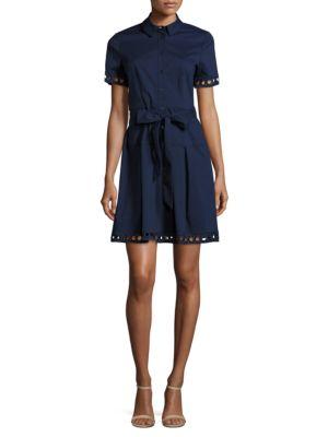 Cutout Trimmed Shirt Dress by Shoshanna
