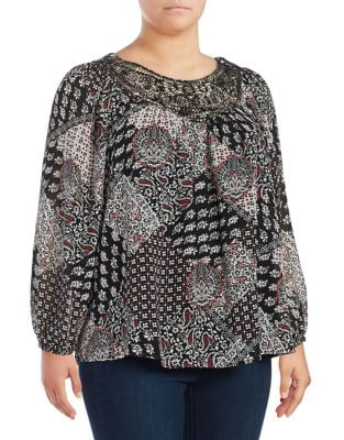 Mixed Patterned Long Sleeved Blouse by Context