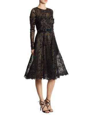 Appliqued Lace Fit-&-Flare Dress by Teri Jon