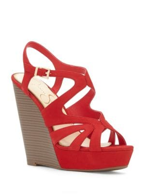Leather Wedge-Heel Sandals by Jessica Simpson
