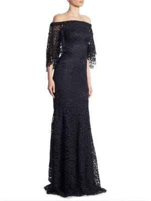 Off-The-Shoulder Lace Trumpet Gown by Theia