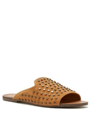 Kloe Metal-Studded Slide Sandals by Jessica Simpson