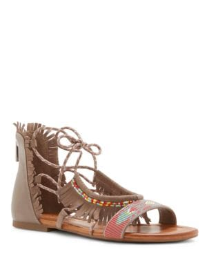 Beaded & Fringed Leather Sandals by Jessica Simpson