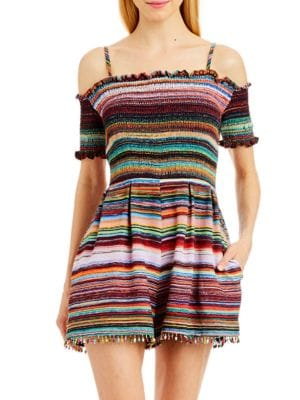 Stripe and Pleated Romper by Nicole Miller New York