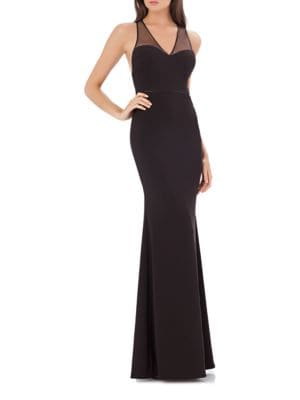 Illusion-Back Solid Gown by Js Collections