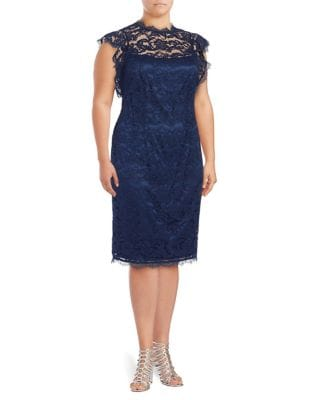Plus Lace Sheath Dress by Adrianna Papell