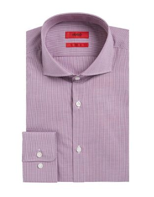 Micro Checked Dress Shirt by Black Brown