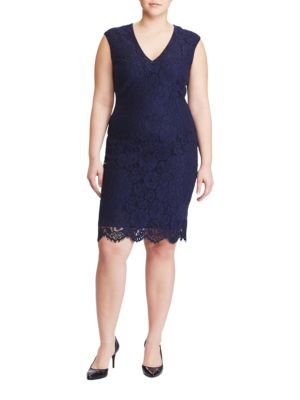 Photo of Plus Floral Lace Sheath Dress by Lauren Ralph Lauren - shop Lauren Ralph Lauren dresses sales