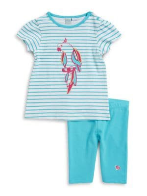 Baby Girls Striped Parrot Tee and Leggings Set