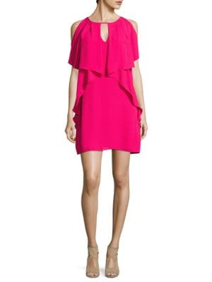 Ruffled Cold-Shoulder Shift Dress by Laundry by Shelli Segal