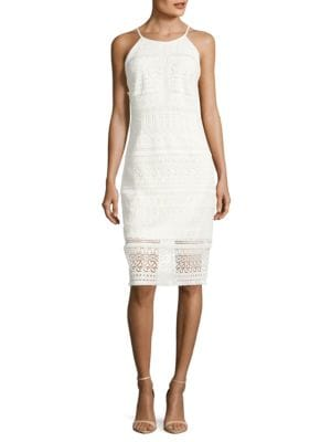 Sleeveless Fringed Sheath Dress by Laundry by Shelli Segal
