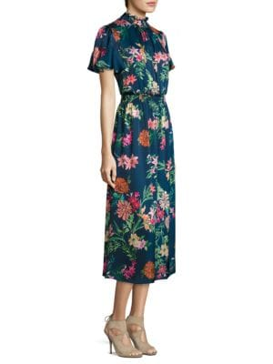 Smocked Floral-Print Midi Dress by Laundry by Shelli Segal