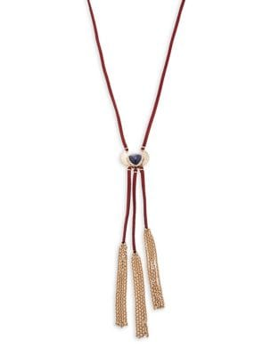 Fringe Accented Corded Y-Necklace 500087106040