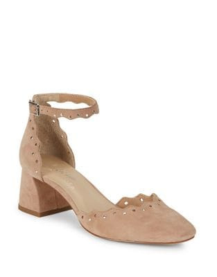 Brandi Embellished Leather Block Heels by 424 Fifth