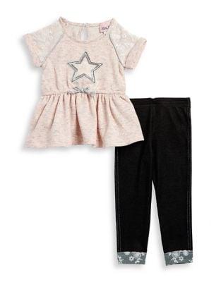 Little Girls Sequined Star Tunic and Leggings Set