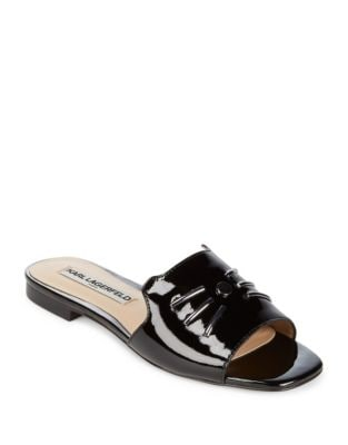 Raven Patent Leather Whisker Slides by Karl Lagerfeld Paris