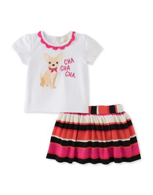 Baby Girls Puppy Graphic Tee and Skirt Set