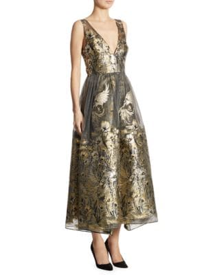 Metallic Fil Coupe Midi Dress by Marchesa Notte