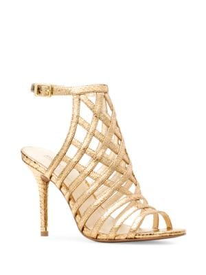 Buy Trinity Embossed Leather Caged Sandals by MICHAEL MICHAEL KORS online