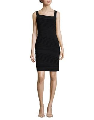Pleated Asymmetric Sheath Dress by Adrianna Papell