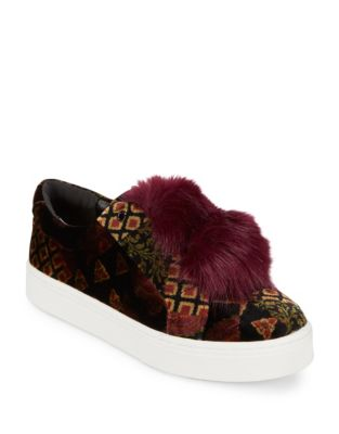 Leya Velvet and Faux Fur Accented Sneakers by Sam Edelman