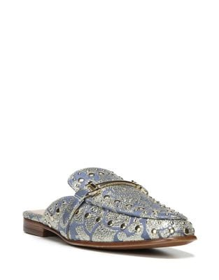 Studded and Embroidered Textile Mules by Sam Edelman