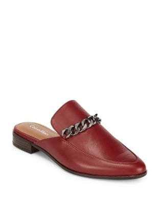 Frieda Leather Loafer Mules by Calvin Klein
